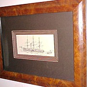 "Original Pen & Ink Drawing ""An Early Atlantic Steamer"" 19th C."