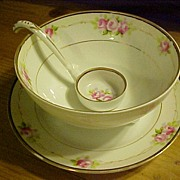 Vintage Porcelain Nippon Hand-painted 3-pc. Mayonnaise Set