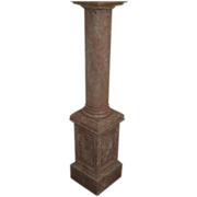 SOLD Pedestal faux marble old mahogany statue planter display