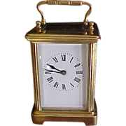 French Carriage Clock C.1890 Brass & Crystal