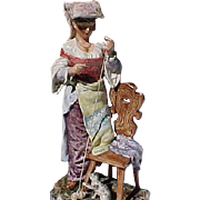 19th Century Majolica Figure Italian Woman Playing With Cat 14""