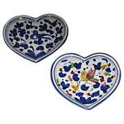 SALE Two ceramic heart shaped dishes.