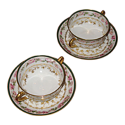 SALE Haviland  Limoges  Nathan Dohrmann Co. broth cups and saucers.