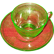 SALE Cup and saucer set.   Federal Glass Co.