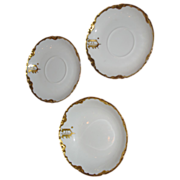 SALE Haviland small bowl and 2 saucers. Monogrammed U and gilt (3)