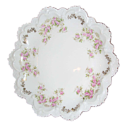 SALE Hapsburg China plate ,, Austria , Ruffles and pink roses