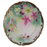SALE Hand painted plate  Purple Clematis with berries