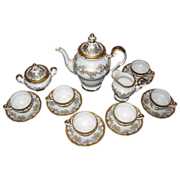 REDUCED WEIMER COFFEE SET  complete gold gilt with garlands of flowers