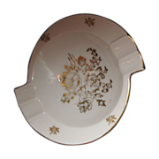 SALE Limoges ashtray Gold and White flowers