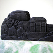 REDUCED Chinese brush rest hand carved from dark stone palace scene