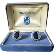 REDUCED Wedgwood blue cufflinks with black silhouette of Caesar