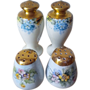 REDUCED Two pairs of Japan shakers with gold tops and floral painting - One pair signed ...