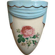 Vintage E & L Ceramic Studio in Aurora, Colorado wall pocket vase with pink roses