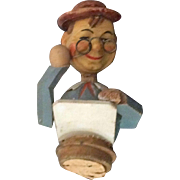 REDUCED Old mechanical wine cork man with hat and glasses moving head and arm up ...