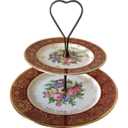 Royal L B 2-tiered tea cake dish - 22 kt gold and burgundy floral pattern