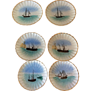 Vintage bone china butter pat plates for formal dining featuring ships - 6