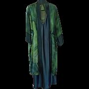 Vintage Diane Lane mid-length batik one-size-fits-all kimono robe and Jones New ...