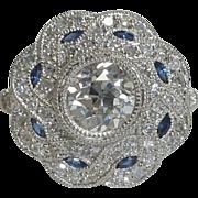 SALE 2.45ct EGL Certified Diamond & Sapphire Ring Platinum