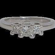 SALE Three Stone 0.50ct Princess Cut Diamond Ring Platinum