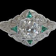 SALE Art Deco 1.43ct EGL Diamond & Emerald Ring in Platinum