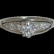 SALE Hand Engraved Edwardian 0.71ct Platinum & Diamond Ring