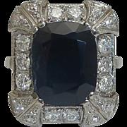 SOLD Breathtaking Art Deco 7.47ct Sapphire & Diamond Ring in Platinum - Red Tag Sale Item