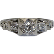 SALE Art Deco 0.29ct Diamond Filigree Ring in 18K White Gold