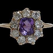 SOLD Victorian Amethyst & European Cut Diamond Ring in Yellow Gold 14K