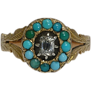 SALE Hand Engraved Georgian Diamond & Turquoise Ring in Yellow Gold 14K
