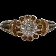 SALE Georgian Enameled 0.35ct Diamond Engagement Ring in 18K Yellow Gold