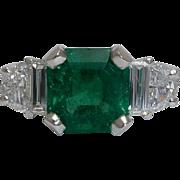 SALE Exceptional 2.89ct Emerald & Diamond Ring in Platinum