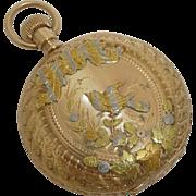 SALE Bird Motif 14 Karat Gold Multi Color Ladies Pocket Watch