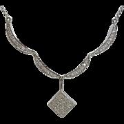 SALE Unique Convertible Diamond Necklace in 14K White Gold