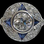 SALE Spectacular Art Deco 2.60ct Diamond & Sapphire Ring in Platinum
