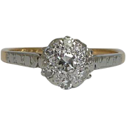 SALE Vintage English Platinum & 18K Diamond Cluster Ring
