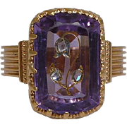 SOLD Victorian Rose Cut Diamond & Carved Amethyst Flower Ring 18K Yellow Gold