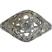 SALE Art Deco 0.31ct Diamond Filigree Ring in 18K White Gold