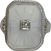 SALE Art Deco Camphor Glass & Diamond Ring in 14K White Gold