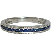 SALE Sparkling Sapphire Wedding Band in Mille Grained White Gold 14K
