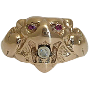 SALE Antique Mens Diamond & Ruby Lion Ring in 14K Rose Gold