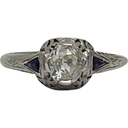 SALE Art Deco 0.92ct Diamond & Sapphire Engagement Ring in 20k White Gold