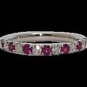 SALE Luxurious Ruby & Diamond Wedding Band in 18K White Gold