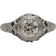SALE Art Deco 0.88ct Diamond & Sapphire Filigree Ring in Platinum & 18K White Gold