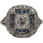 SALE Art Deco 2.44ct D Colorless Diamond & Sapphire Ring in Platinum Engagement