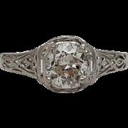 SALE Fancy Art Deco 0.80ct Filigree Diamond Solitaire Ring in 18k White Gold