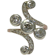 SALE Fantastic Victorian 1.72 carat Diamond Swirl Ring in Platinum & Rose Gold