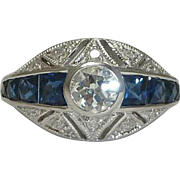 SALE Mid Century 1.80ct Diamond & French Cut Sapphire Engagement Ring in 14k White Gold