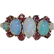 SALE Victorian Australian Opal & Ruby Ring in 14k Yellow Gold
