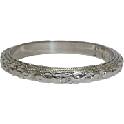SALE Hand Carved Floral Art Deco Eternity Wedding Band in 18K White Gold