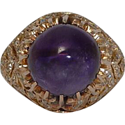 SALE Spectacular Amethyst & Rose Cut Diamond Ring in Rose Gold 14k